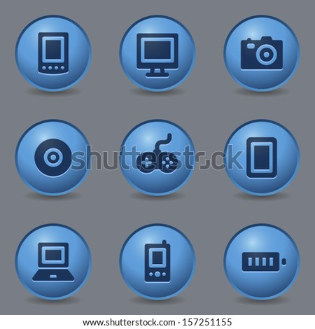 Electronics web icons, circle blue buttons