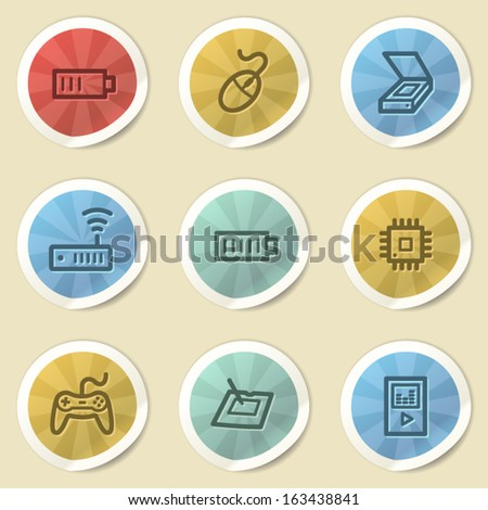 Electronics web icons, color vintage stickers - stock vector