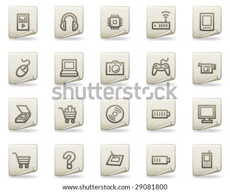 Electronics web icons, document series - stock vector