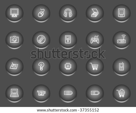 Electronics web icons, metal circle buttons series - stock vector