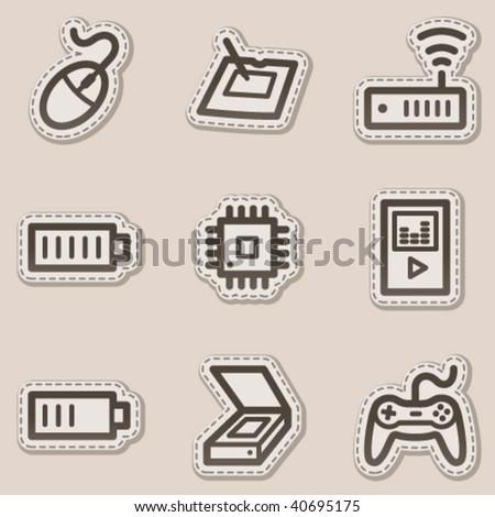 Electronics web icons set 2, brown contour sticker series - stock vector