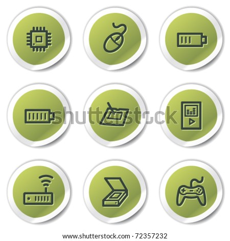 Electronics web icons set 2, green circle stickers - stock vector