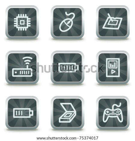Electronics  web icons set 2, grey square buttons - stock vector
