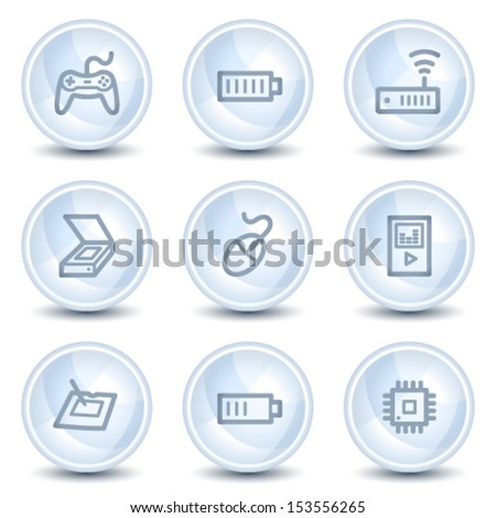 Electronics web icons set 2, light blue glossy circle buttons
