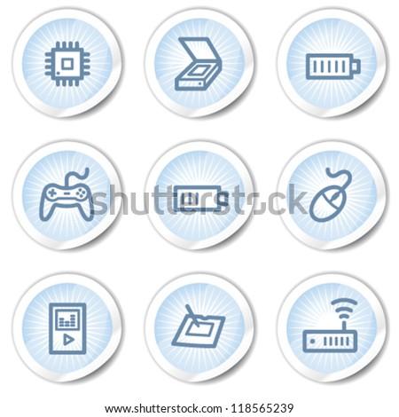 Electronics web icons set 2, light blue stickers - stock vector