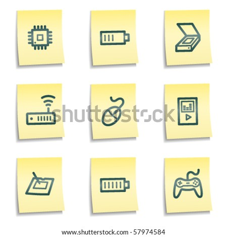 Electronics web icons set 2, yellow notes series - stock vector