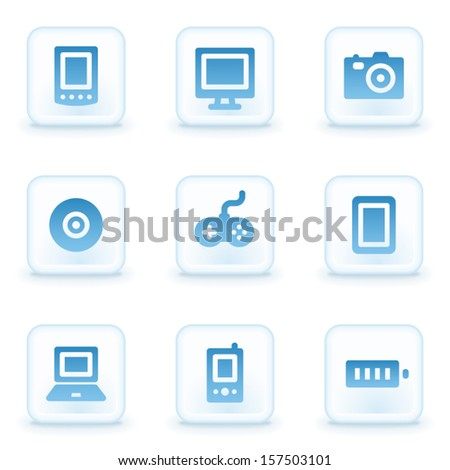 Electronics web icons, winter buttons