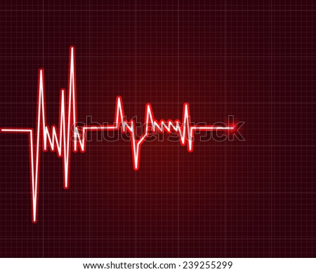 Electrowave heart beat, cardiogram. Pulse vector illustration. - stock vector