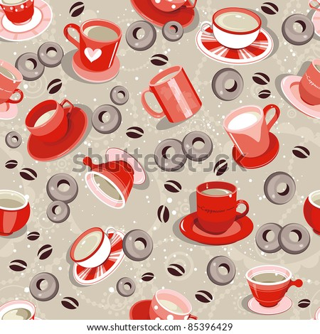 Elegance Coffee cup seamless pattern. Vector illustration, textures, fabric design.