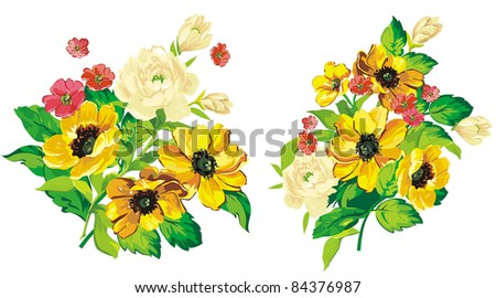 Elegance illustration Bouquet of flowers for your design isolated on white background. - stock vector