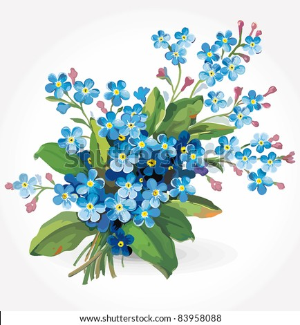 Elegance illustration with forget-me-not flowers bouquet isolated on white background. Color design elements. - stock vector