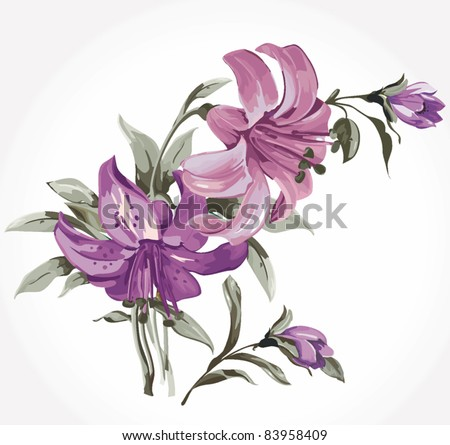 Elegance illustration with lily flowers bouquet isolated on white background. Color design elements. - stock vector