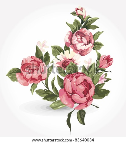Elegance illustration with pink flowers bouquet isolated on white background. Color design elements. - stock vector