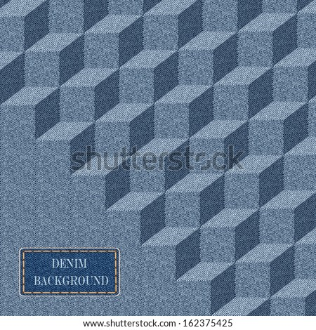 Elegance  pattern with denim jeans background. - stock vector
