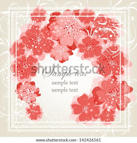 Elegance pattern with flowers. Abstract greeting card. Wedding card or invitation with abstract floral background.