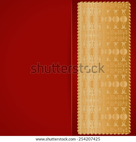 elegance red background with golden lace stripes, for greeting, invitation card, or cover. Vector illustration