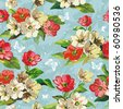 Elegance Seamless beige and red flowers pattern on blue background, vector illustration with butterflies. - stock