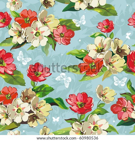Elegance Seamless beige and red flowers pattern on blue background, vector illustration with butterflies. - stock vector