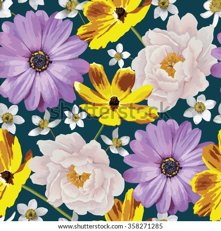 Elegance seamless color flower pattern on the blue background. Background for web pages, wedding invitations, save the date cards. Flower vector background. EPS 10 vector. - stock vector