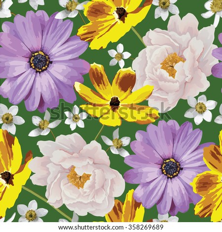 Elegance seamless color flower pattern on the green background. Background for web pages, wedding invitations, save the date cards. Flower vector background. EPS 10 vector.
