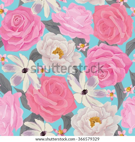 Elegance seamless color flower pattern with roses and peonies. Background for web pages, wedding invitations, save the date cards. Flower vector background. EPS 10 vector. - stock vector