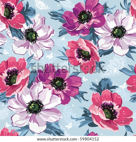Elegance Seamless color flowers pattern on blue background, vector illustration - stock vector