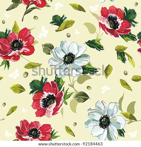 Elegance Seamless color flowers pattern on green background, vector illustration - stock vector