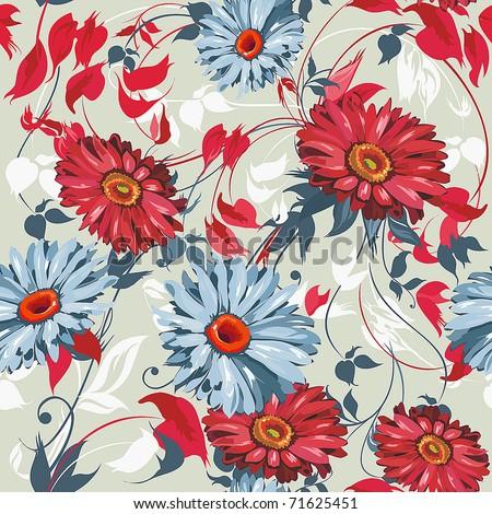 Elegance Seamless color Gerbera pattern on light background, vector illustration - stock vector