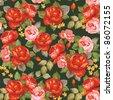 Elegance Seamless color peony pattern on black background, vector illustration - stock vector