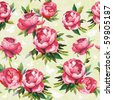 Elegance Seamless color peony pattern on floral background, vector illustration - stock vector