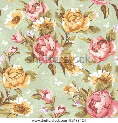 Elegance Seamless color peony pattern on green background, vector illustration - stock vector