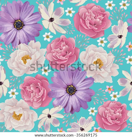 Elegance Seamless color peony pattern on the blue background. Background for web pages, wedding invitations, save the date cards. Flower vector background. EPS 10 vector. - stock vector