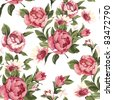 Elegance Seamless color peony pattern on white background, vector illustration - stock photo