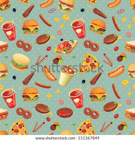 stock vector elegance seamless fast food pattern vector illustration 151367849 - Каталог — Фотообои «Еда, фрукты, для кухни»