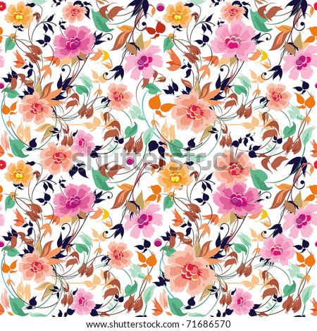 Elegance Seamless floral pattern on leaves theme - stock vector