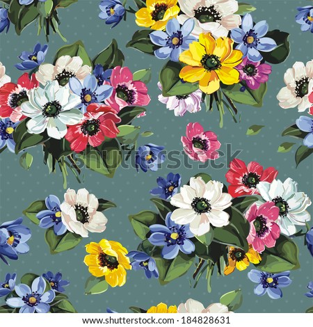 Elegance Seamless Floral Pattern With colored Flowers, vector illustration - stock vector