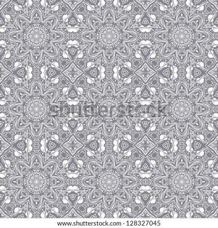 Elegance seamless flower pattern with ornament, vector floral illustration in vintage style - stock vector