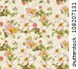 Elegance seamless flowers pattern on abstract background. Floral vector illustration. - stock photo