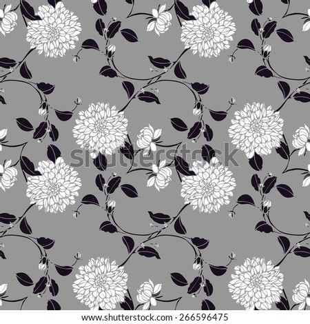 Elegance Seamless pattern with chrysanthemum flowers, floral vector illustration in vintage style - stock vector