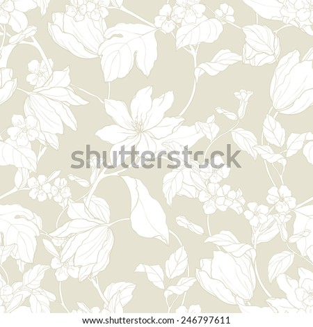 Elegance Seamless pattern with flowers magnolia and tulips, vector floral illustration in vintage style - stock vector