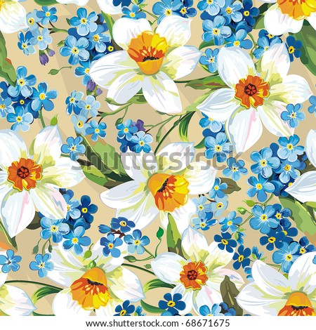 Elegance Seamless pattern with flowers narcissus on beige background, vector illustration - stock vector
