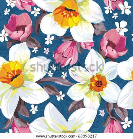Elegance Seamless pattern with flowers narcissus on blue background, vector illustration - stock vector