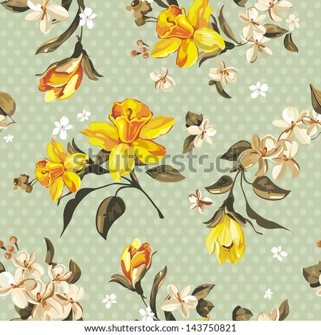 Elegance Seamless pattern with flowers narcissus, vector floral illustration in vintage style - stock vector