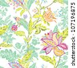 Elegance Seamless pattern with flowers ornament, vector floral illustration in vintage style - stock