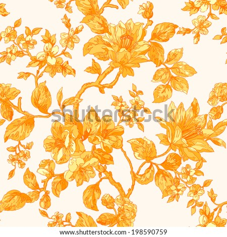 Elegance Seamless pattern with flowers peonies, vector floral illustration in vintage style - stock vector