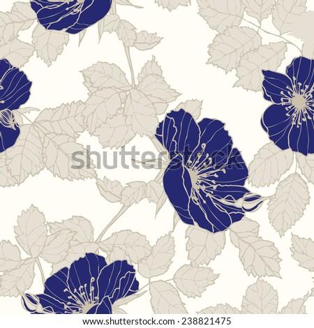 Elegance Seamless pattern with flowers roses, floral vector illustration in vintage style - stock vector