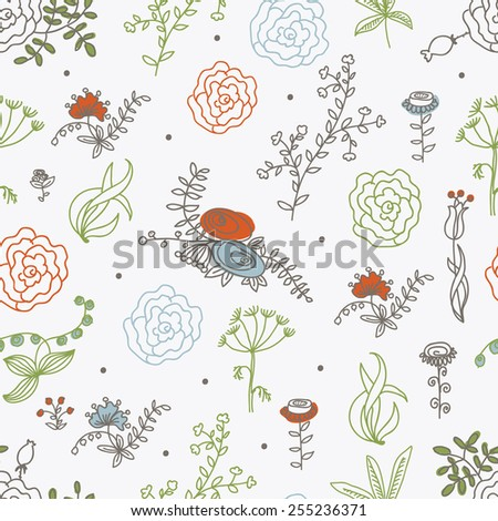 Elegance Seamless pattern with flowers, vector floral illustration in vintage style - stock vector
