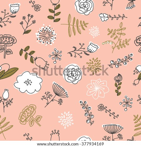 Elegance Seamless pattern with flowers, vector floral illustration in vintage style.