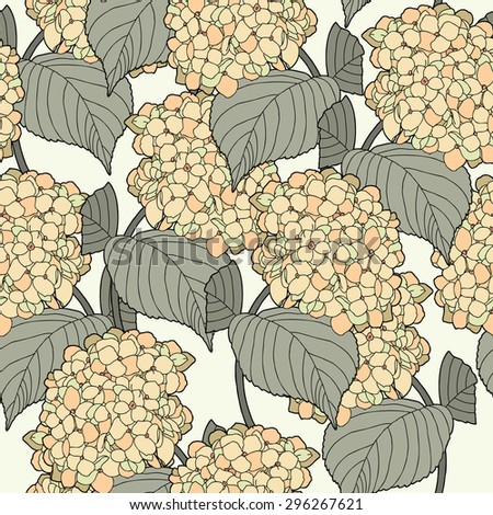 Elegance Seamless pattern with hydrangea flowers, vector floral illustration in vintage style - stock vector