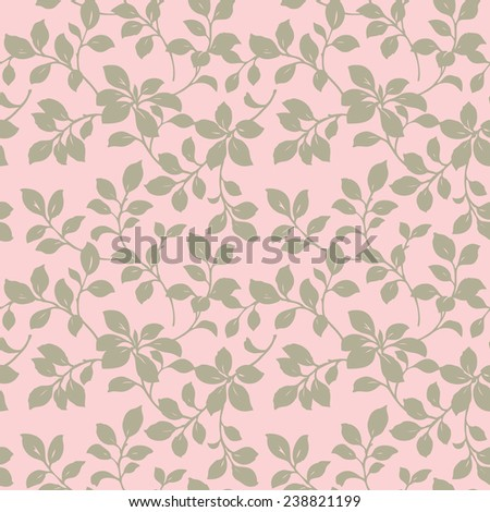 Elegance Seamless pattern with leaf ornament, floral illustration in vintage style - stock vector